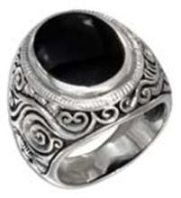 STERLING SILVER MENS OVAL SIMULATED ONYX TAPERED SCROLLED FLORAL BAND RING #17801v3