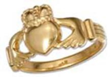 STERLING SILVER 18KT GOLD PLATED CLADDAGH HEART IN HANDS RING #17785v3