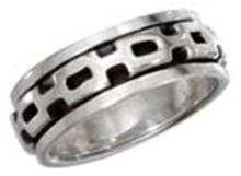 STERLING SILVER MENS WORRY RING WITH SQUARE LINK SPINNING BAND #17799v3