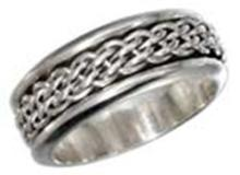 STERLING SILVER MENS ANTIQUED WORRY RING WITH WOVEN SPINNING BAND #17790v3