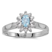 Certified 10k White Gold Oval Aquamarine And Diamond Ring 0.22 CTW #50582v3