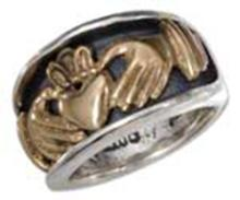 STERLING SILVER UNISEX BRONZE CLADDAGH HEART IN HANDS BAND RING #17796v3
