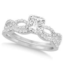 Infinity Princess Cut Diamond Bridal Ring Set 14k White Gold (1.13ct) #76047v3
