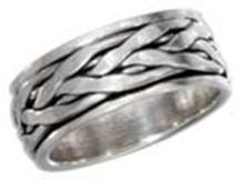 STERLING SILVER ANTIQUED BRAIDED WORRY RING #17805v3