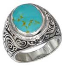 STERLING SILVER MENS SCROLL DESIGN OVAL SIMULATED TURQUOISE RING #17802v3