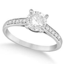 Cathedral Style Round Diamond Engagement Ring 14k White Gold (0.75ct) #76055v3