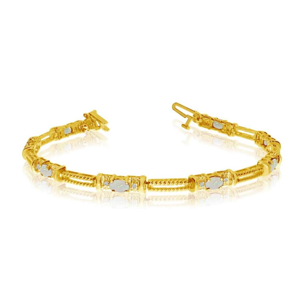 Certified 14k Yellow Gold Natural Opal And Diamond Tennis Bracelet 0.8 CTW #PAPPS25395