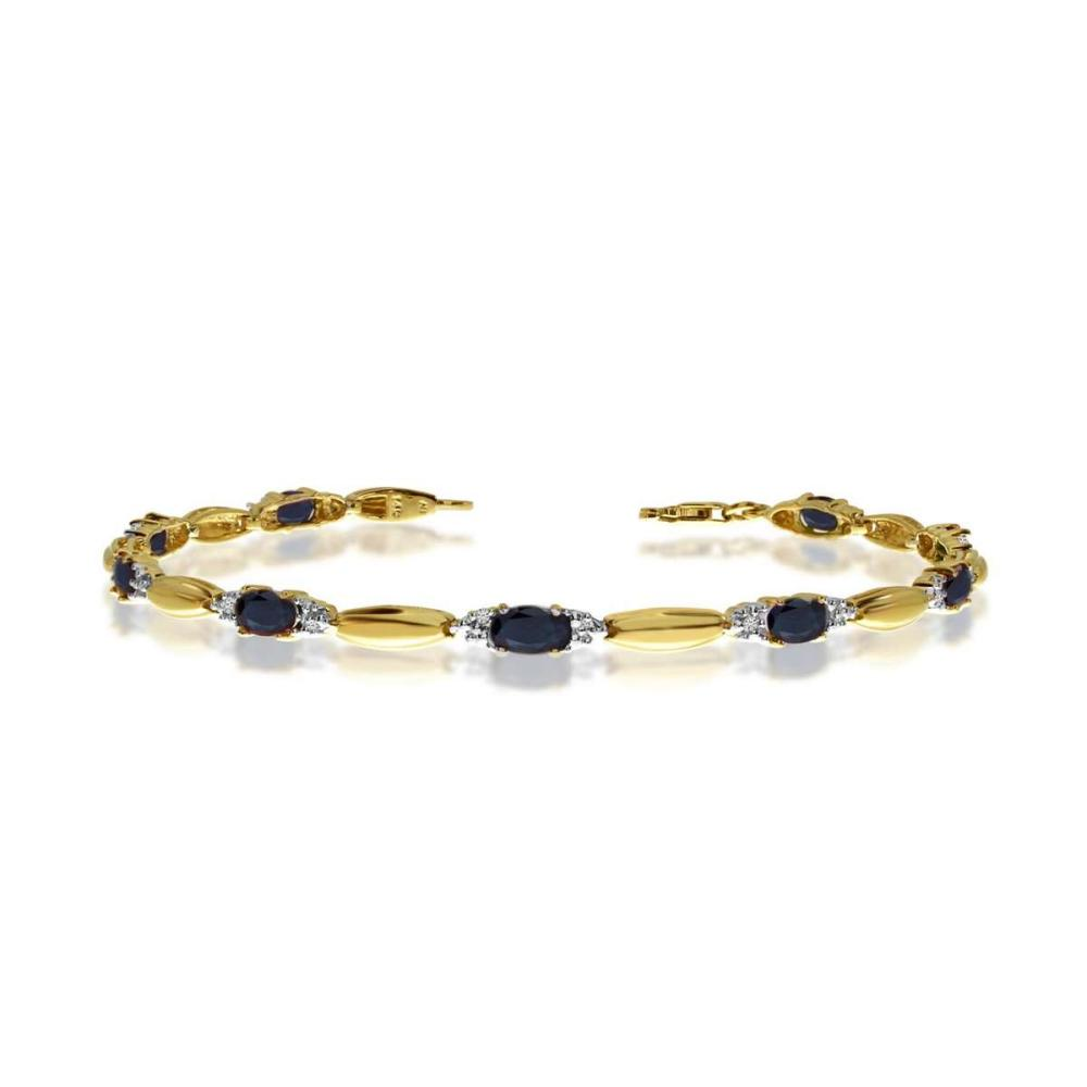 Certified 14K Yellow Gold Oval Sapphire and Diamond Bracelet 3.15 CTW #PAPPS25402