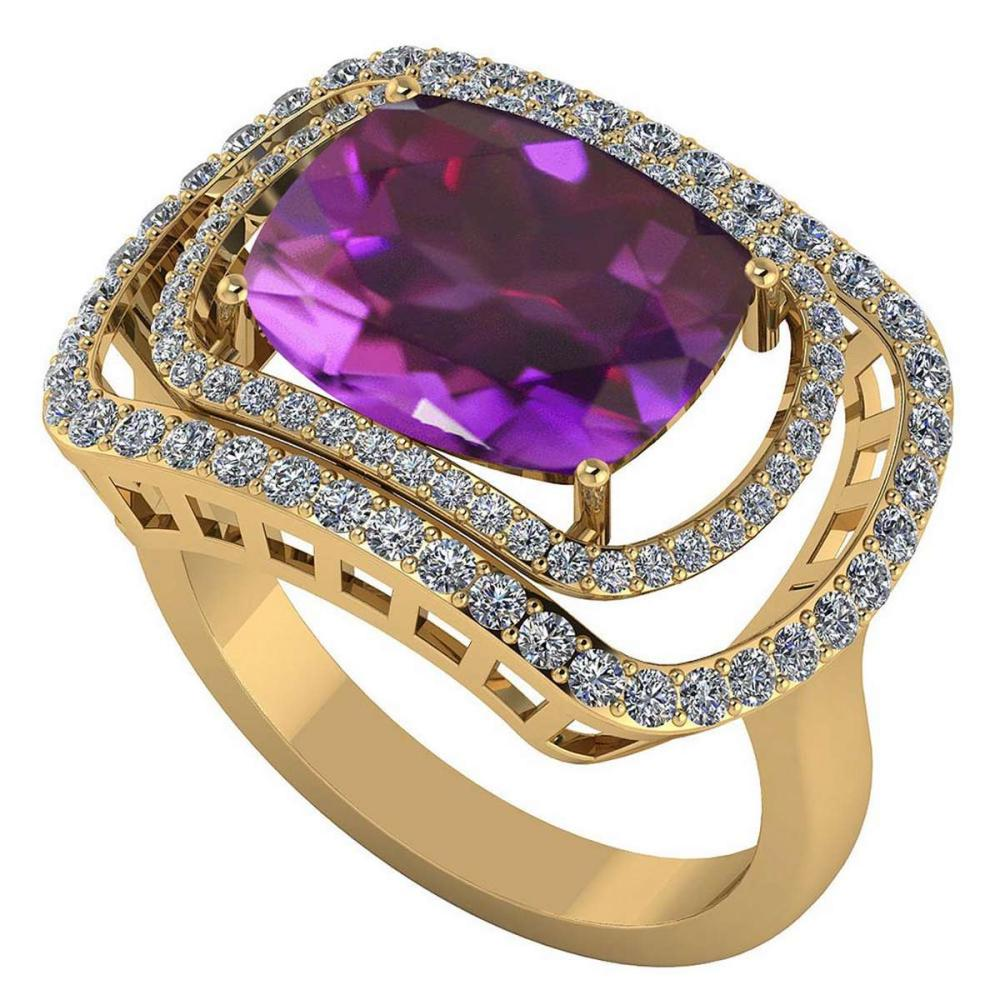 Certified 3.40 CTW Genuine Amethyst And Diamond 14K Yellow Gold Ring #PAPPS91821