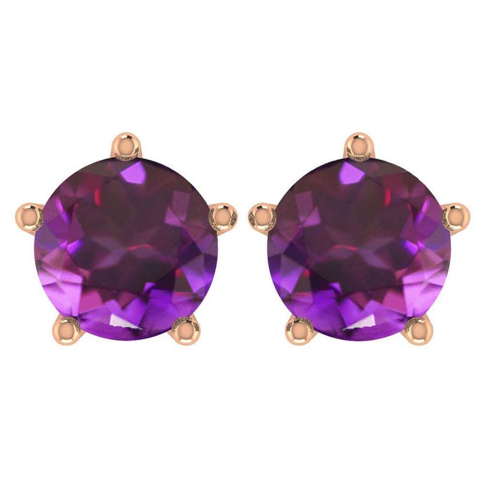 Certitifed 1.60 Ctw Genuine Amethyst 14K Rose Gold Stud Earrings #PAPPS97061
