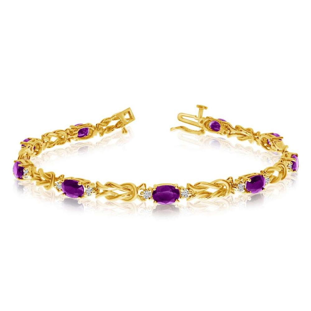 Certified 14k Yellow Gold Natural Amethyst And Diamond Tennis Bracelet 3.56 CTW #PAPPS25439