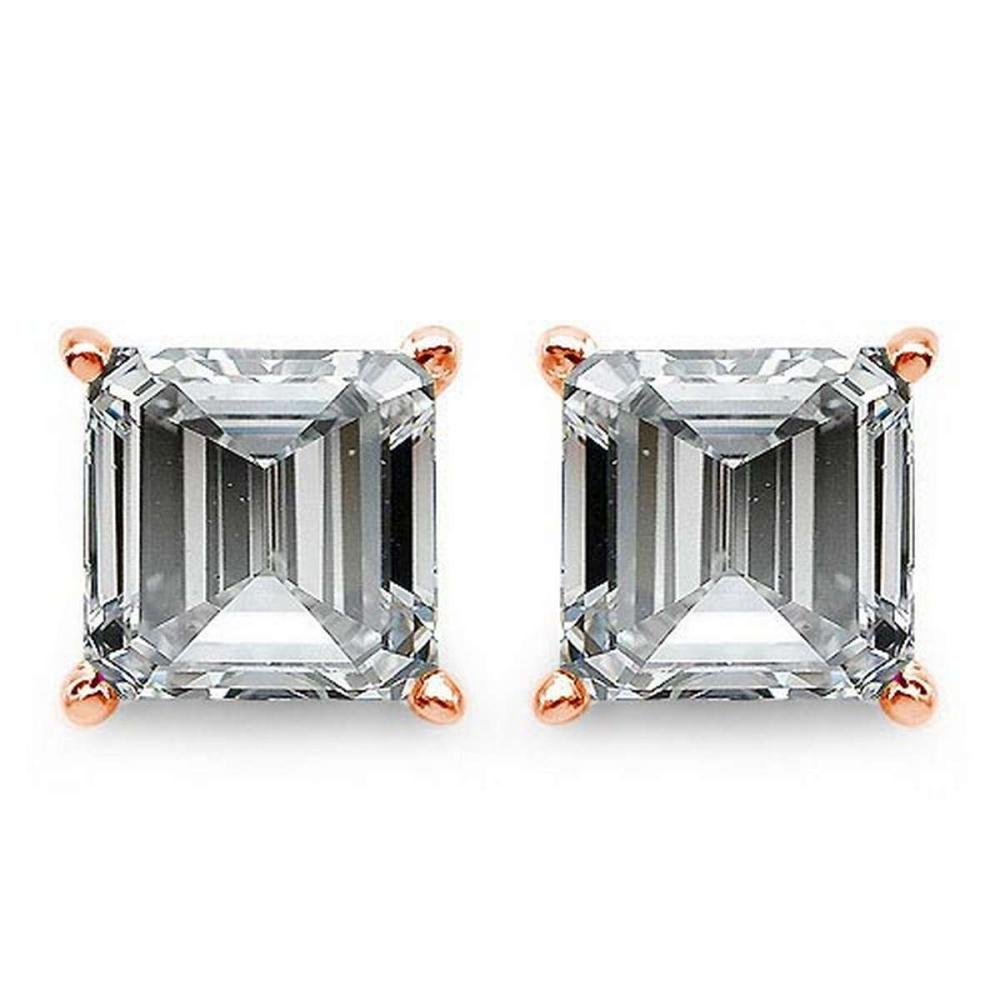 Certified .50 CTW Raident Diamond 14K Rose Gold Earring #PAPPS92294