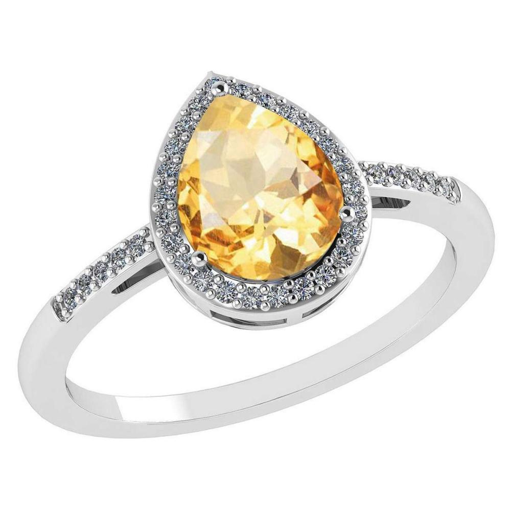 Certified 2.18 Ctw Citrine And Diamond 14k White Gold Halo Ring #PAPPS95208
