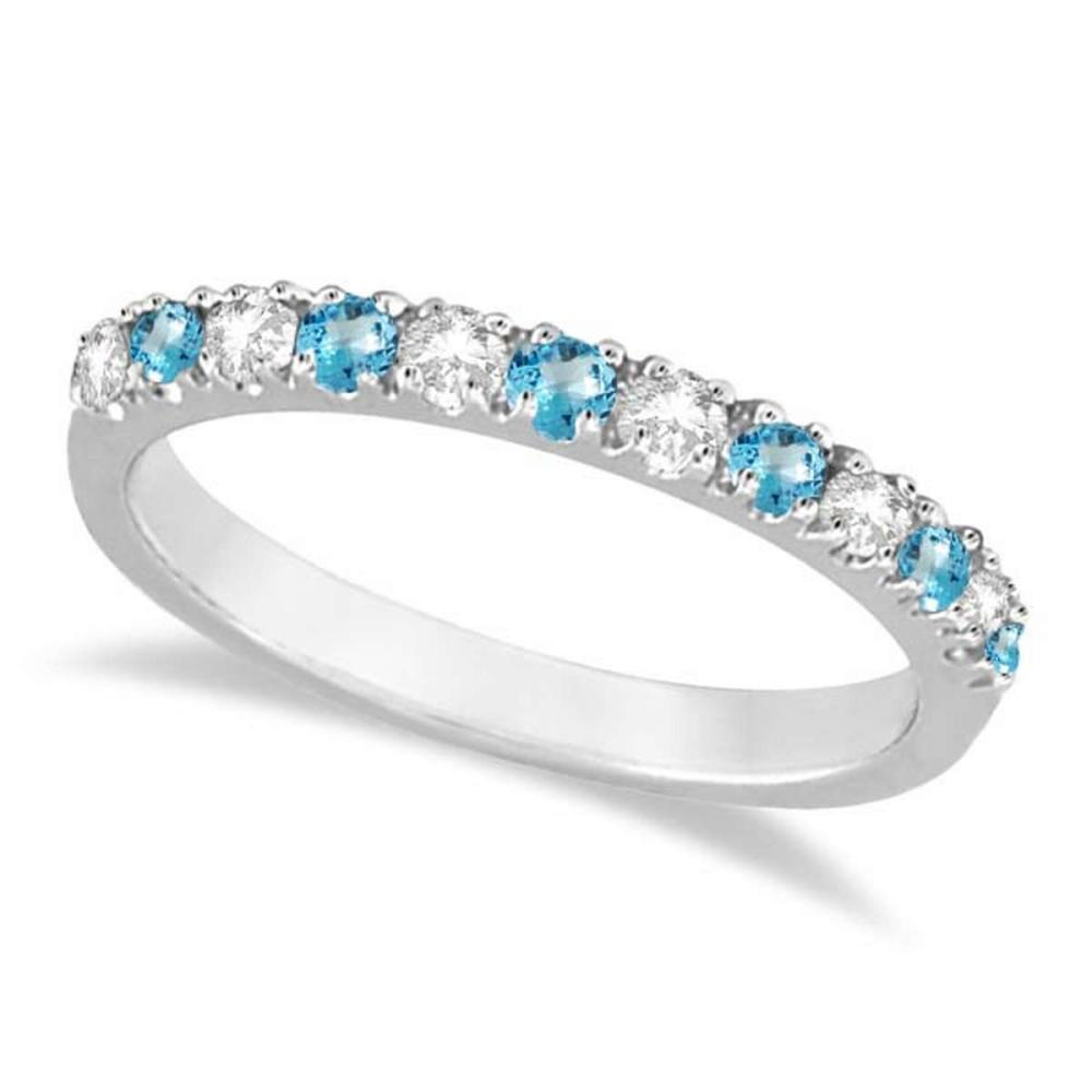 Diamond and Blue Topaz Ring Anniversary Band 14k White Gold (0.32ct) #PAPPS20562