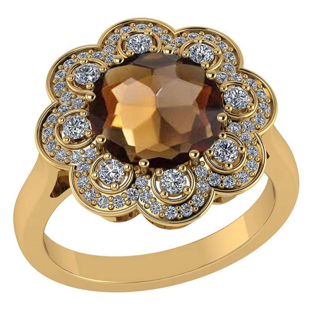 Certified 4.42 CTW Genuine Smoky And Diamond 14K Yellow Gold Ring #PAPPS92344