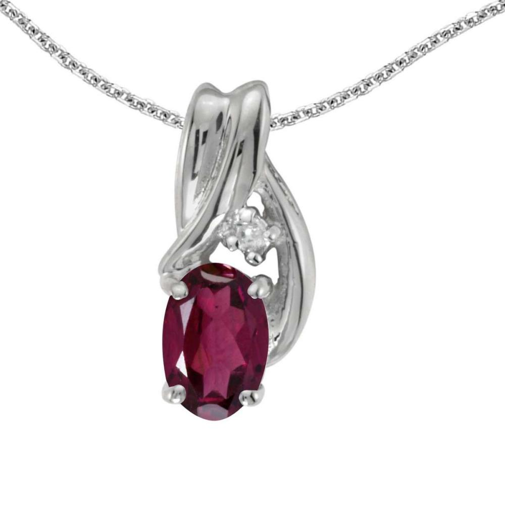 Certified 14k White Gold Oval Rhodolite Garnet And Diamond Pendant 0.5 CTW #PAPPS25140