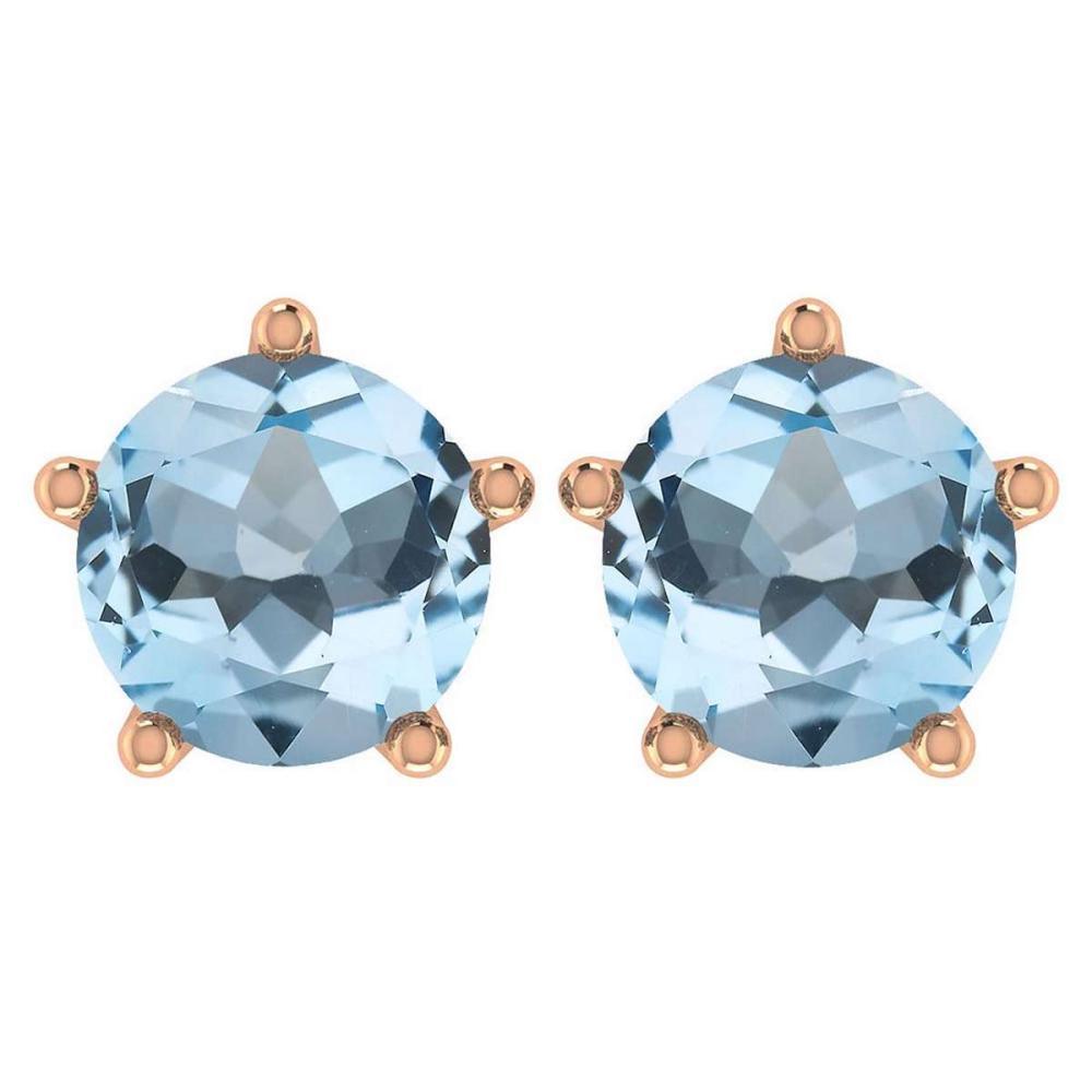 Certitifed 1.60 Ctw Genuine Aquamarine 14K Rose Gold Stud Earrings #PAPPS97060