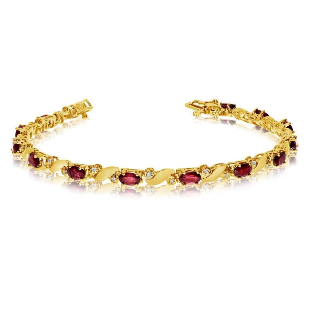Certified 14k Yellow Gold Natural Garnet And Diamond Tennis Bracelet 3.14 CTW #PAPPS25441