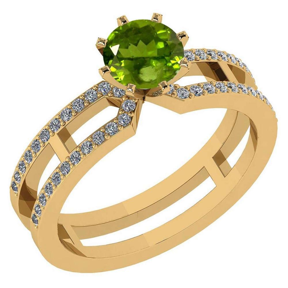Certified 1.32 Ctw Genuine Peridot And Diamond 14k Yellow Gold Engagement Ring #PAPPS94632