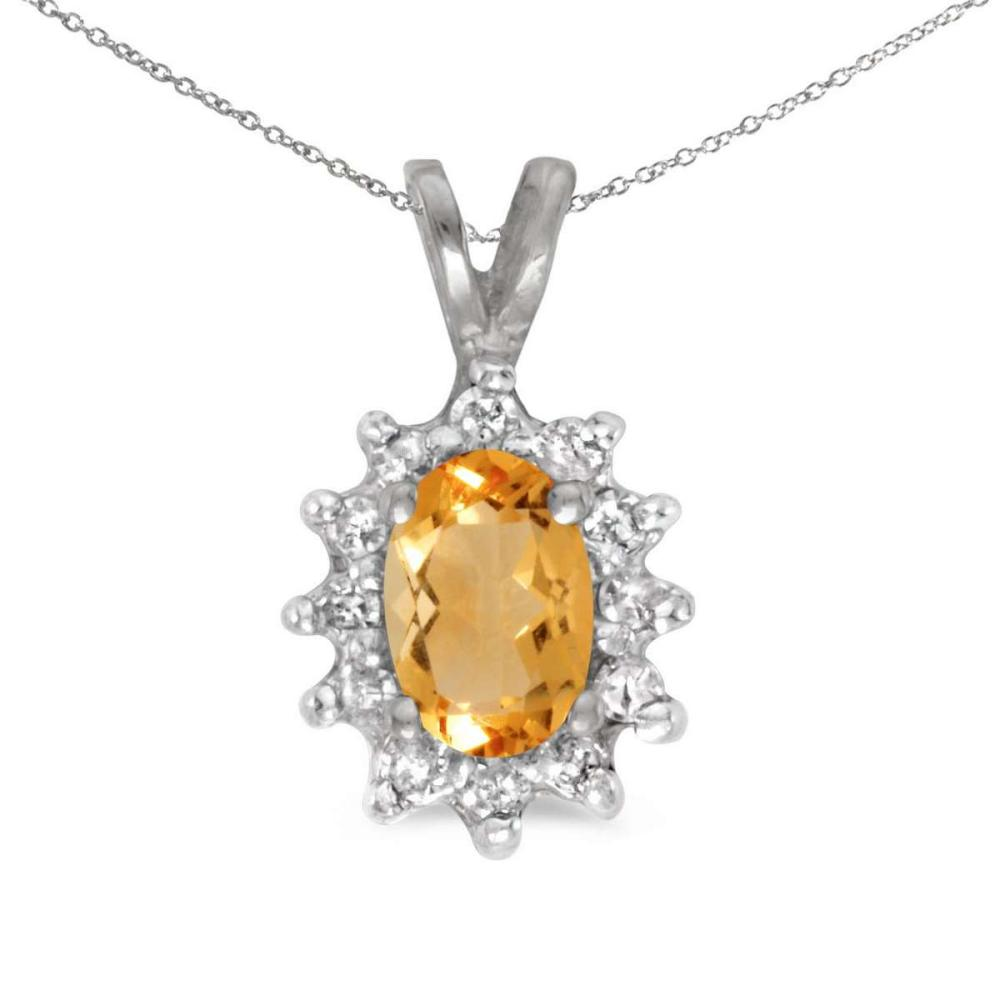 Certified 14k White Gold Oval Citrine And Diamond Pendant 0.43 CTW #PAPPS25098