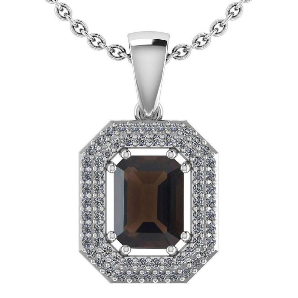 Certified 2.8 Ctw Smoky Quarzt And Diamond 14k White Gold Halo Pendant VS-SI1 #PAPPS95222