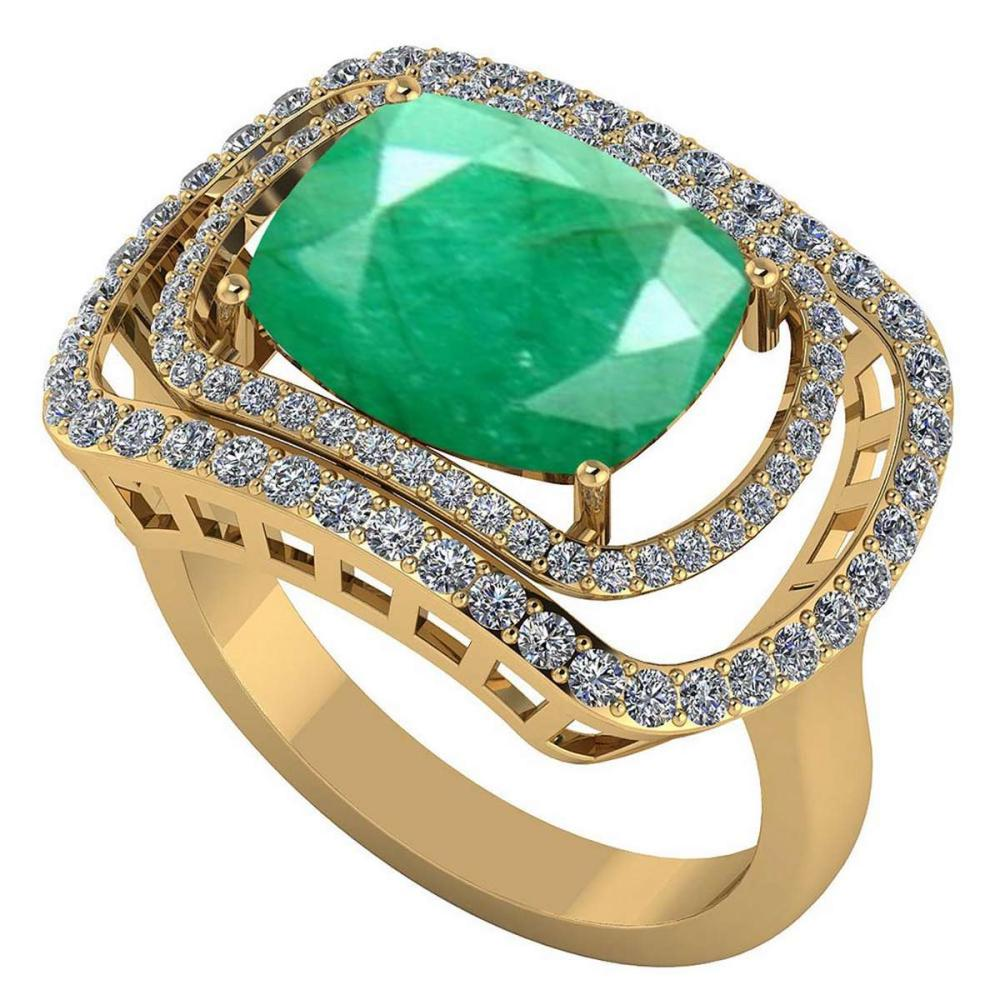Certified 3.50 CTW Genuine Emerlad And Diamond 14K Yellow Gold Ring #PAPPS91824