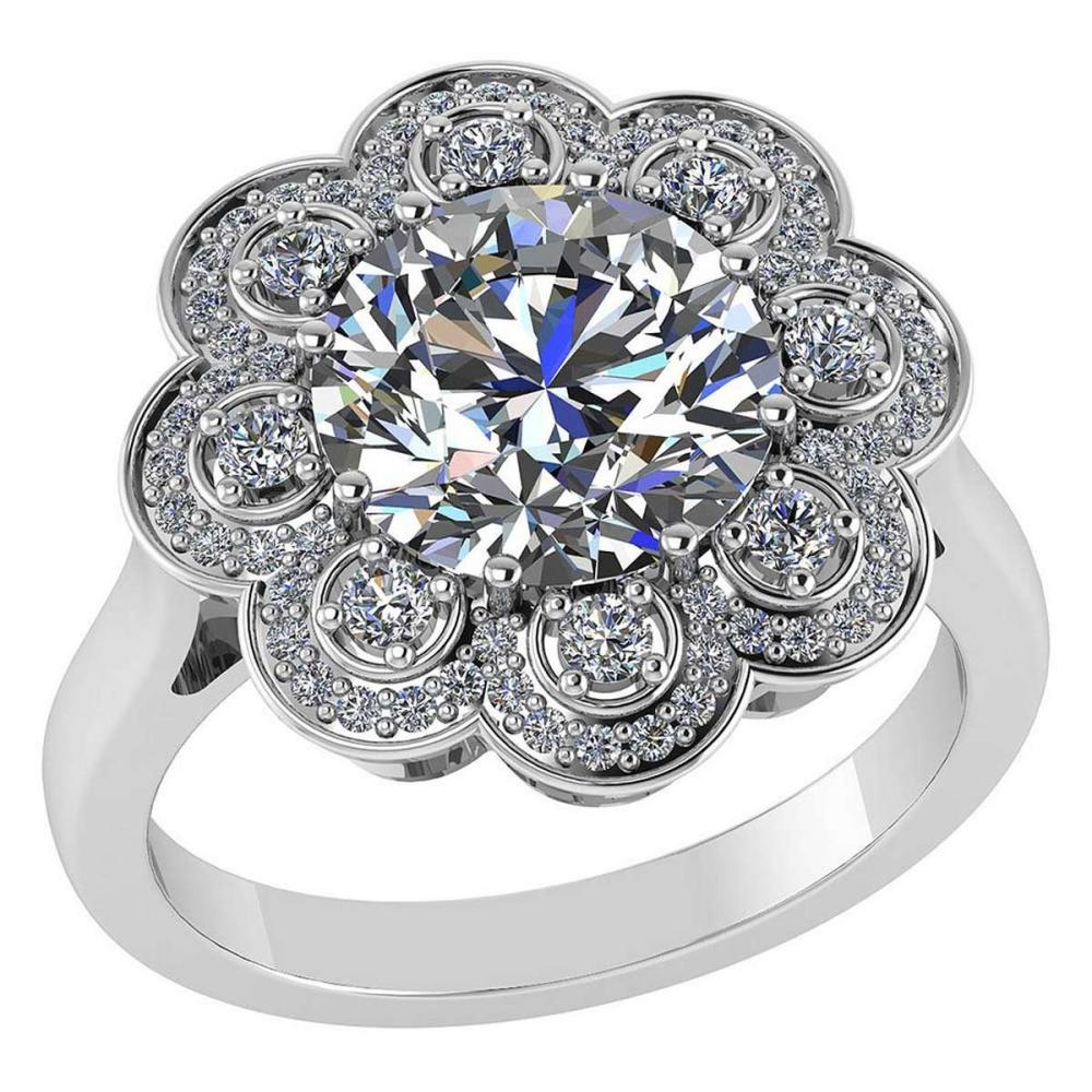 Certified 1.75 CTW Round Diamond 14K White Gold Ring #PAPPS92311