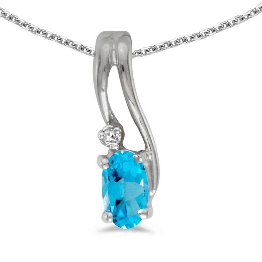 Certified 14k White Gold Oval Blue Topaz And Diamond Wave Pendant 0.2 CTW #PAPPS25078