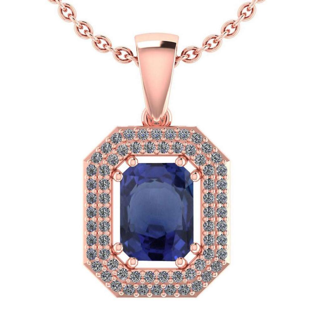 Certified 2.8 Ctw Bule Sapphire And Diamond 14k Rose Gold Halo Pendant VS-SI1 #PAPPS95223