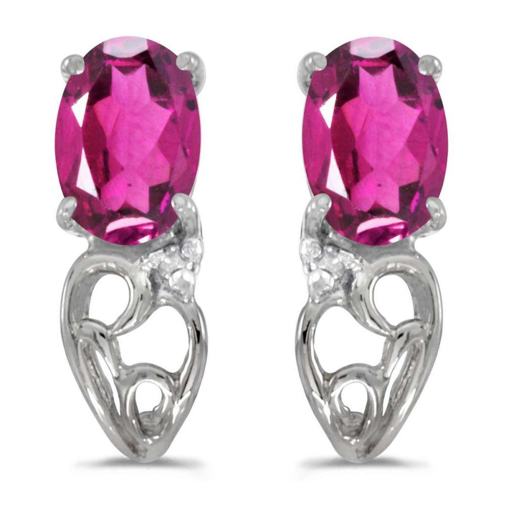 Certified 10k White Gold Oval Pink Topaz And Diamond Earrings 0.87 CTW #PAPPS25379