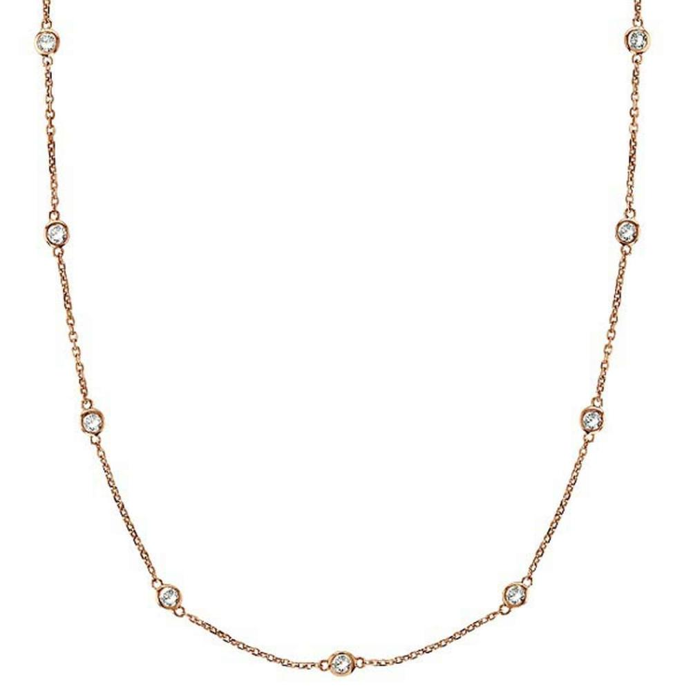 Diamonds by The Yard Bezel-Set Necklace in 14k Rose Gold (2.00 ctw) #PAPPS20523