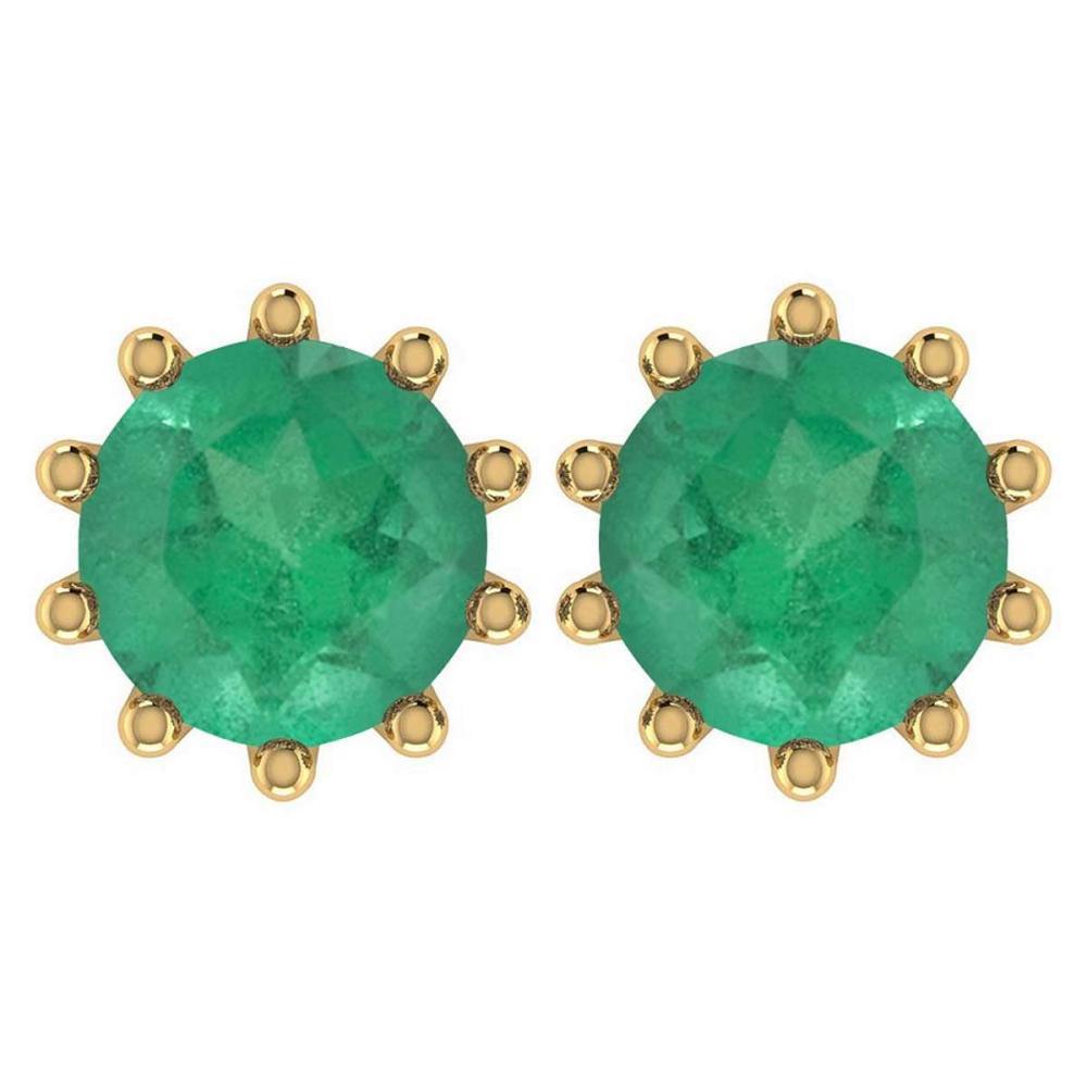 Certitifed 1.60 Ctw Genuine Emerald 14K Yellow Gold Stud Earrings #PAPPS97103