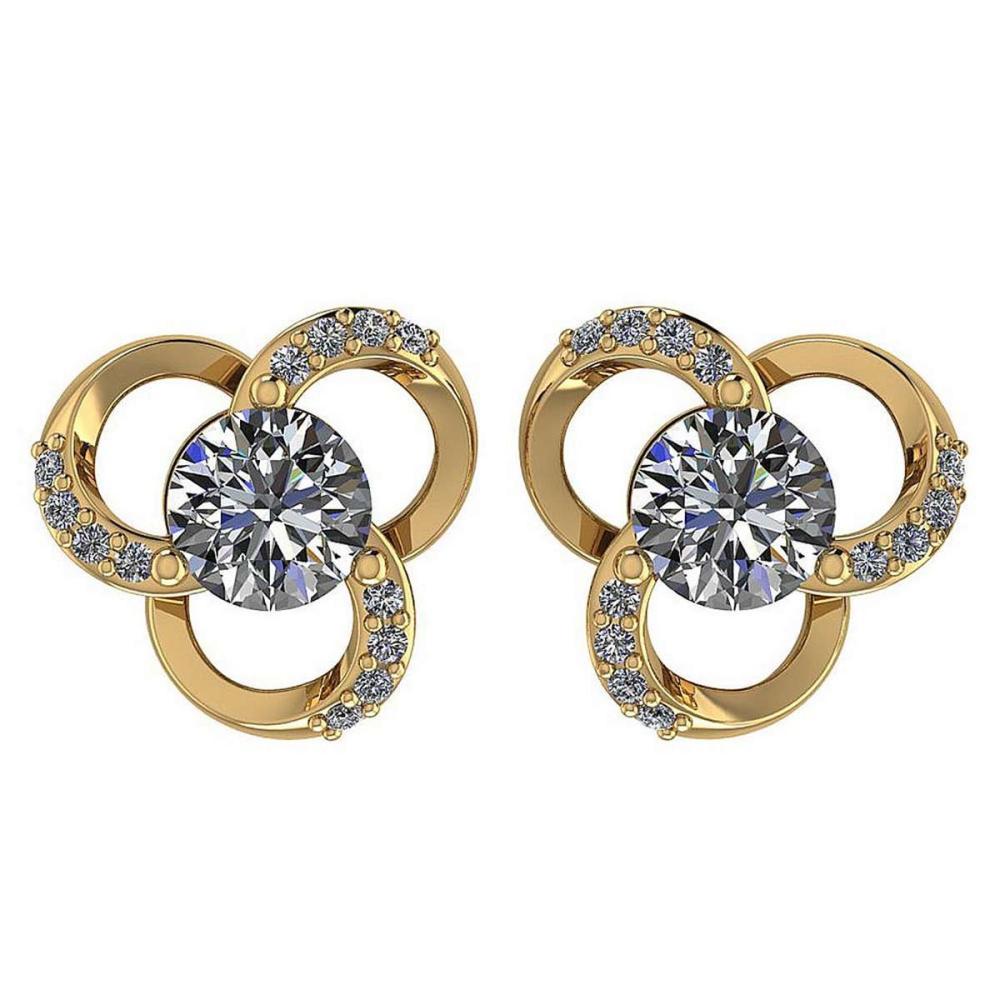 1.2Ctw Diamond 14k Yellow Gold Halo Stud Earring #PAPPS96945