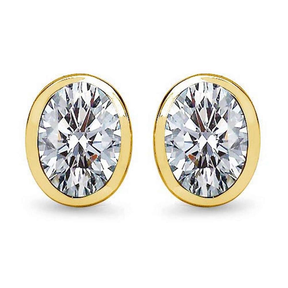 Certified 1.00 CTW Oval Diamond 14K Yellow Gold Earring #PAPPS92292