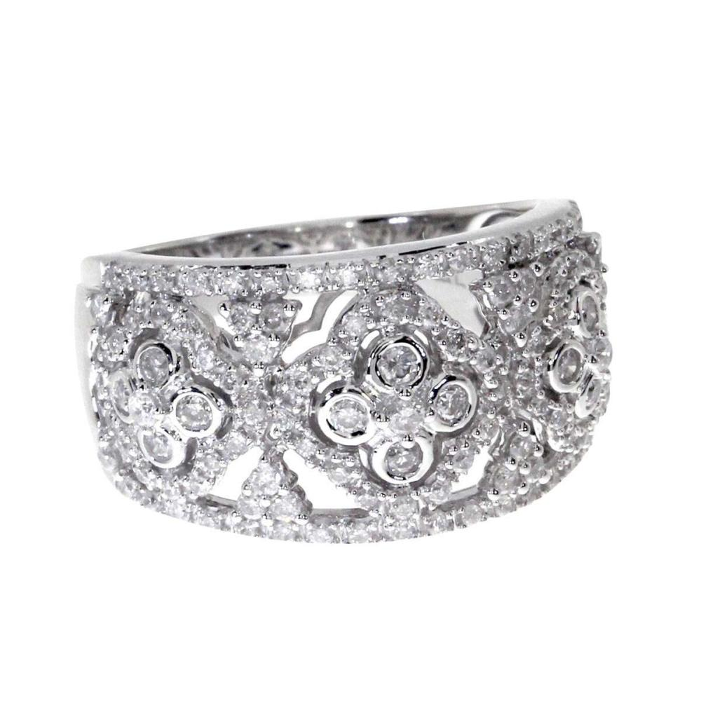 Certified 14k White Gold Diamond Clover Fashion Band 0.73 CTW #PAPPS25413
