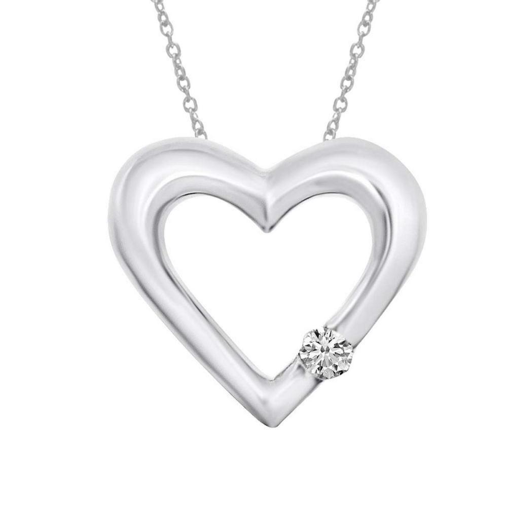 Certified 14K White Gold Diamond Heart Pendant 0.07 CTW #PAPPS25130