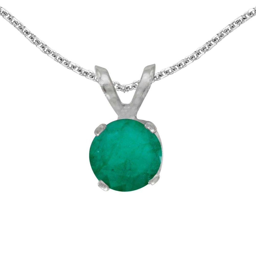 Certified 14k White Gold Round Emerald Pendant 0.33 CTW #PAPPS25101