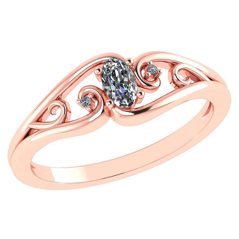 0.22 Ctw Diamond 14k Rose Gold Simple Ring #PAPPS96009
