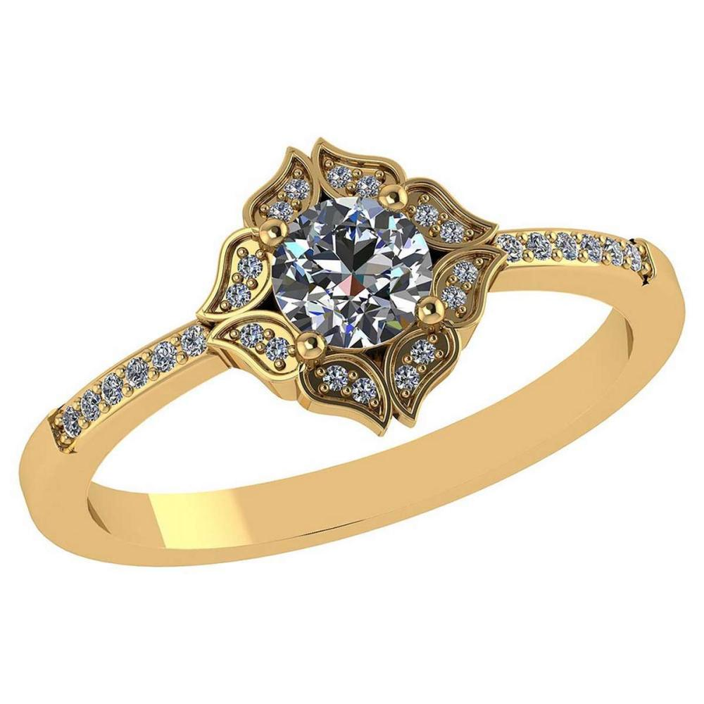 Certified .59 Ctw Diamond 14k Genuine Yellow Gold Halo Ring #PAPPS94858