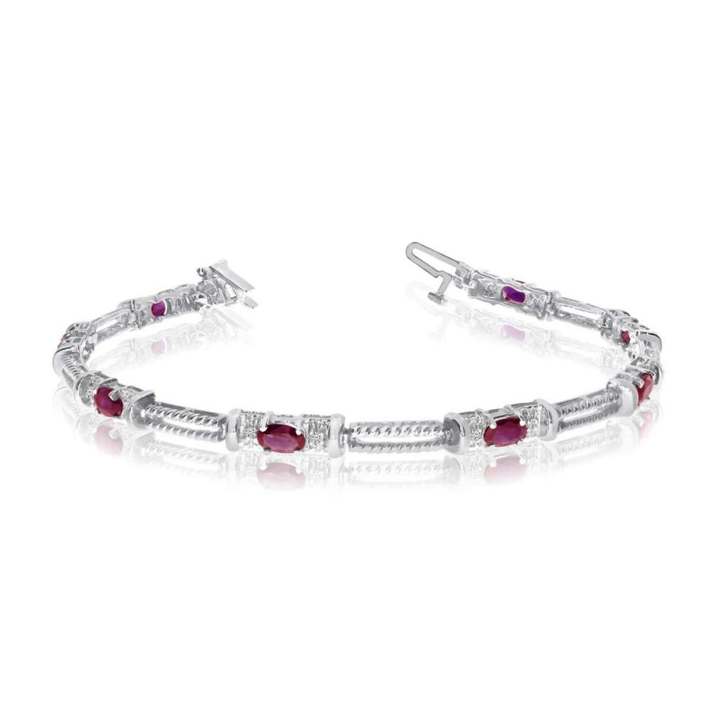 Certified 10k White Gold Natural Ruby And Diamond Tennis Bracelet 1.6 CTW #PAPPS25404