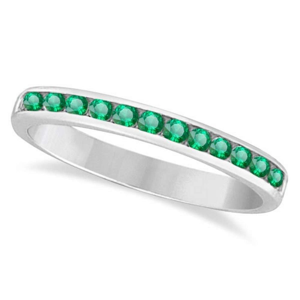 Channel-Set Emerald Band Stackable Ring 14k White Gold (0.40ct) #PAPPS20890