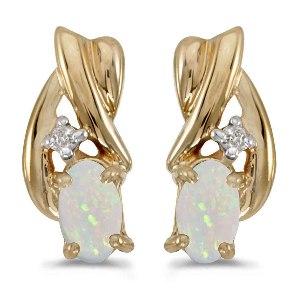 Certified 10k Yellow Gold Oval Opal And Diamond Earrings 0.18 CTW #PAPPS25348