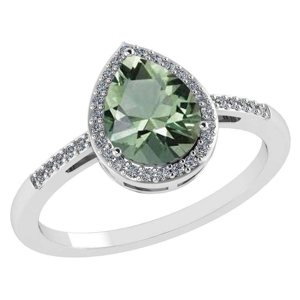 Certified 2.18 Ctw Green Amethyst And Diamond 14k White Gold Halo Ring #PAPPS95207