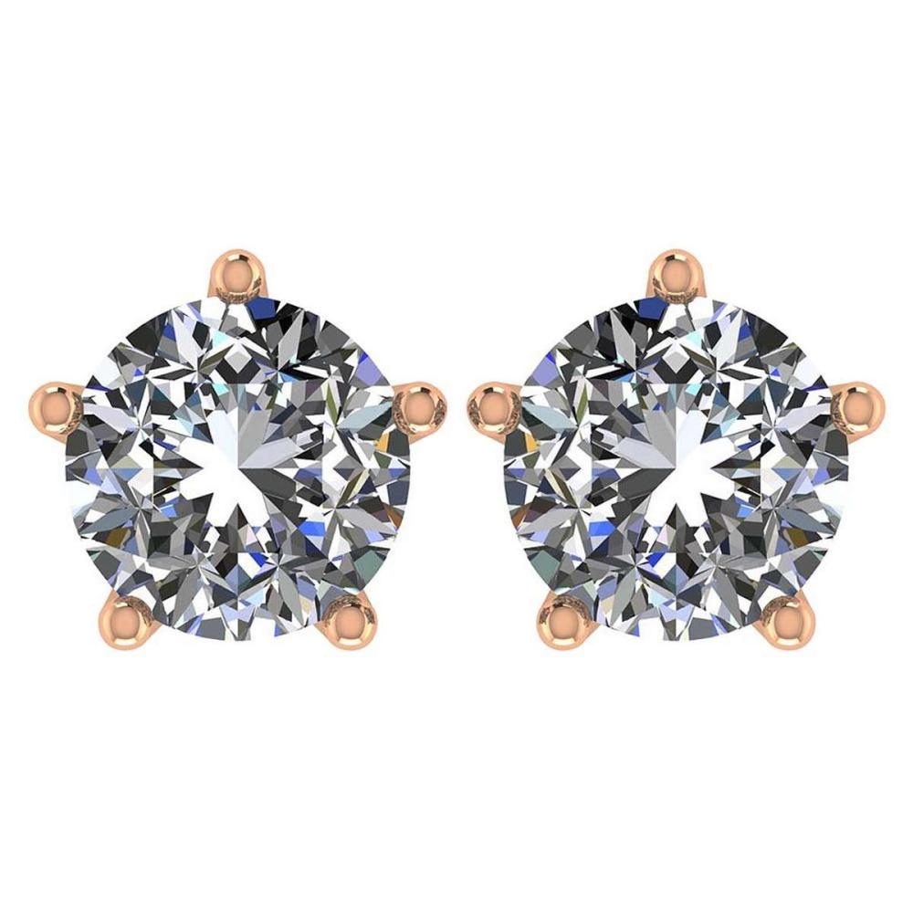 Certitifed 1.60 Ctw Round Diamond 14K Rose Gold Stud Earrings #PAPPS97122