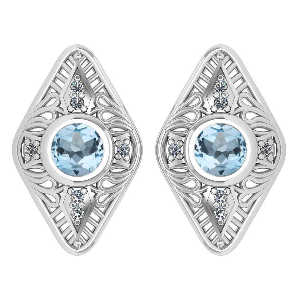 Certified 1.46 Ctw Aquamarine And Diamond 14k Yellow Gold Halo Stud Earring #PAPPS16176