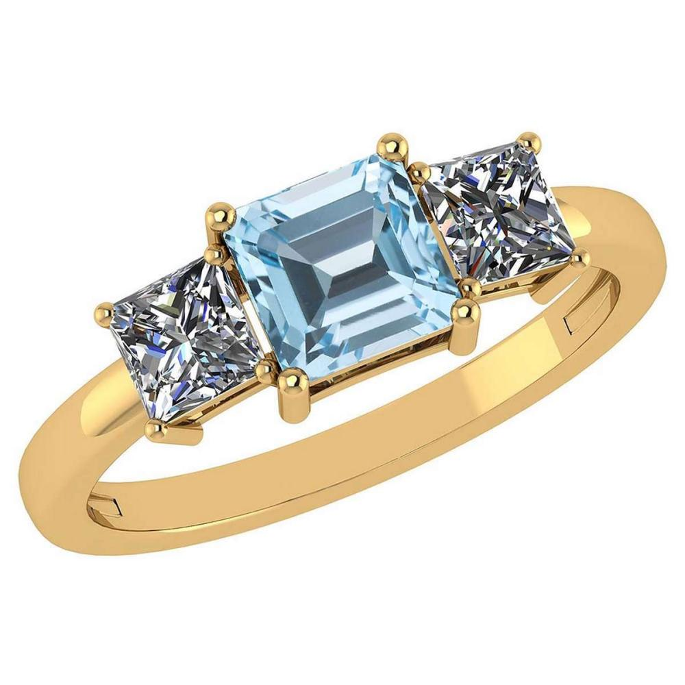 Certified 1.26 Ctw Blue Topaz And Diamond 14k Yellow Gold Simple Ring #PAPPS95559