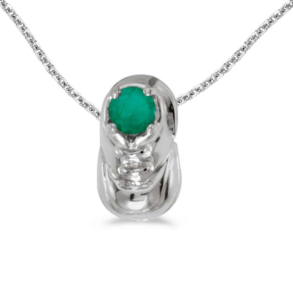 Certified 10k White Gold Round Emerald Baby Bootie Pendant 0.19 CTW #PAPPS25133