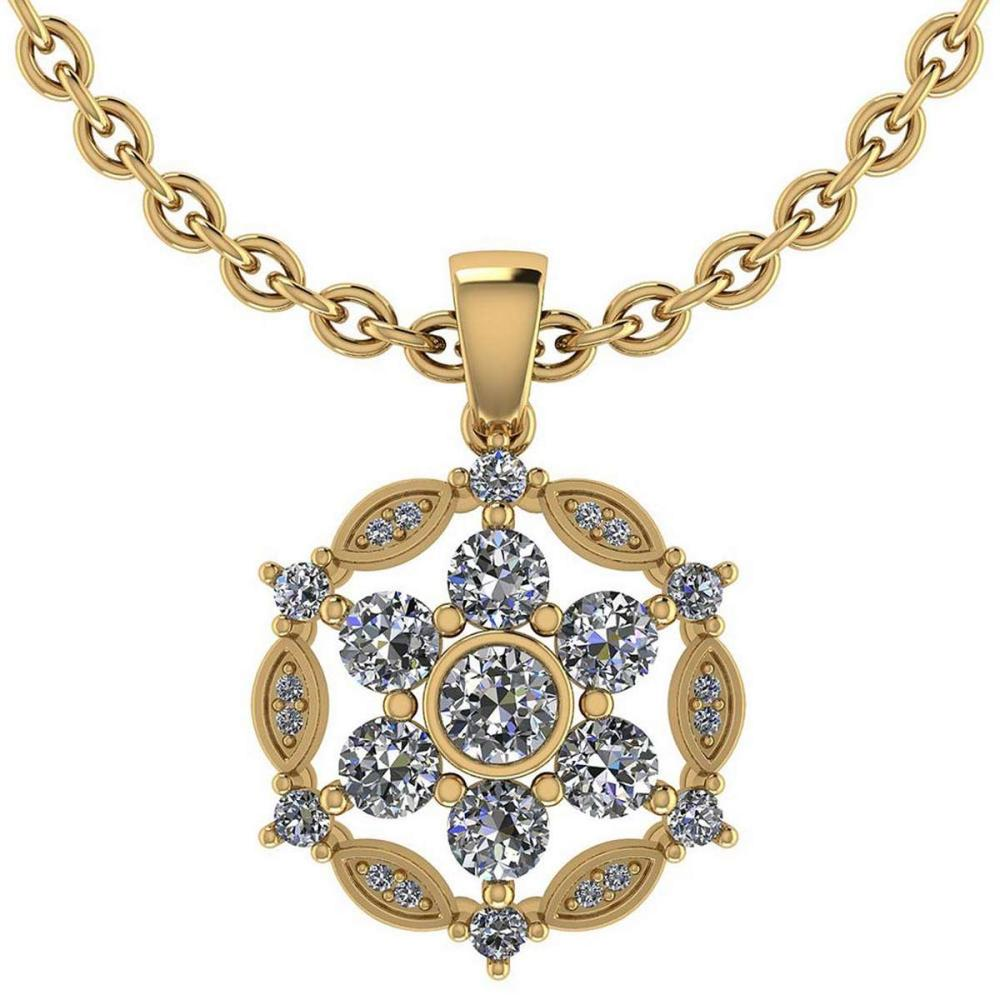 Certified 1.20 CTW Round Diamond 14K Yellow Gold Pendant #PAPPS92302