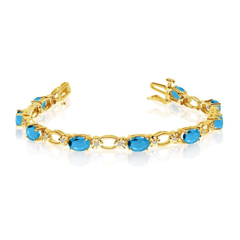 Certified 14k Yellow Gold Natural Blue-Topaz And Diamond Tennis Bracelet 4.92 CTW #PAPPS25382