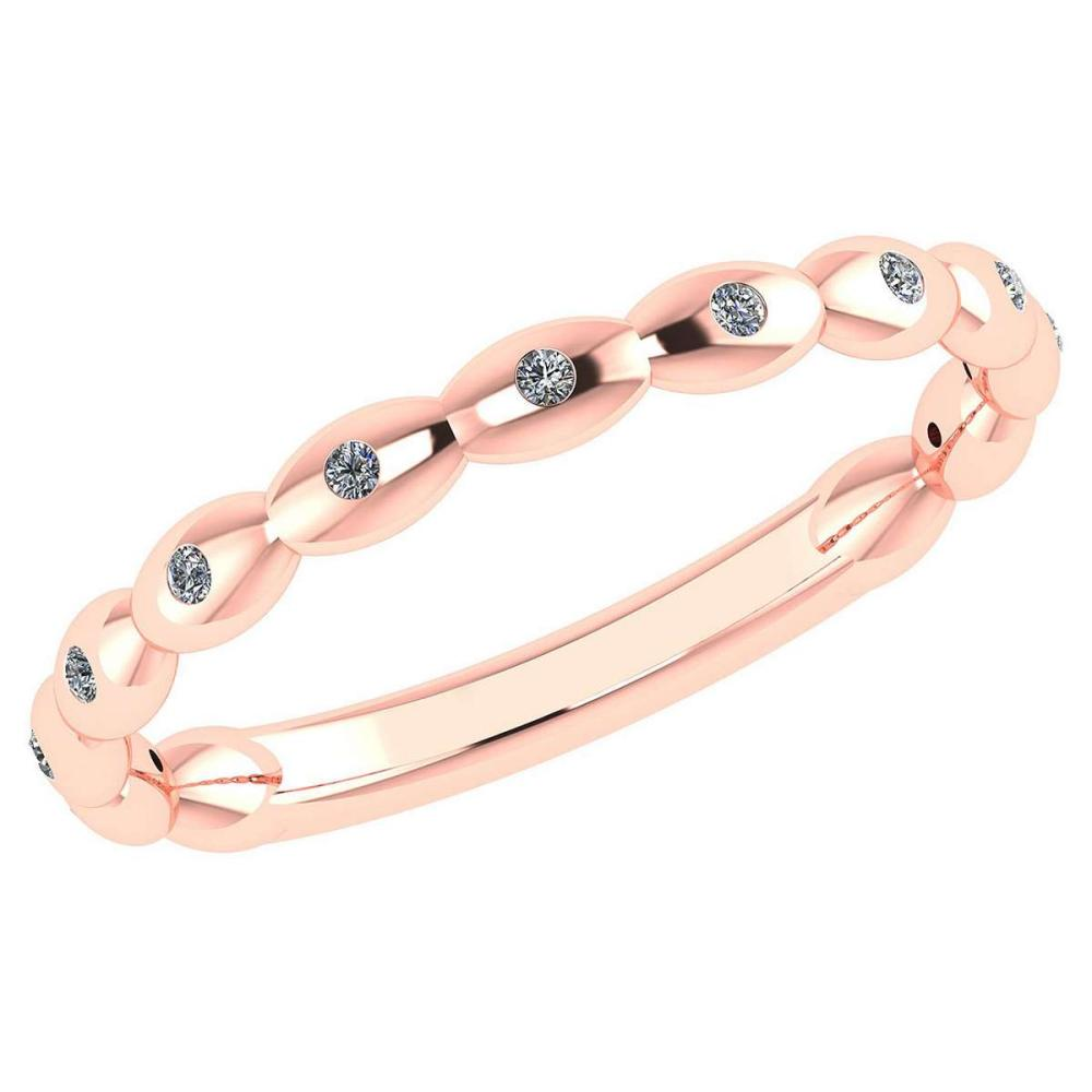 Certified 0.05 Ctw Diamond 14k Rose Gold Promise Band #PAPPS16190